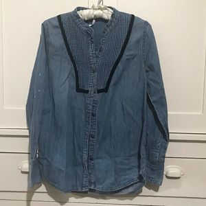 Free People Denim Button Down Long Sleeve